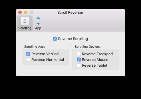 Préférences Scroll Reverser