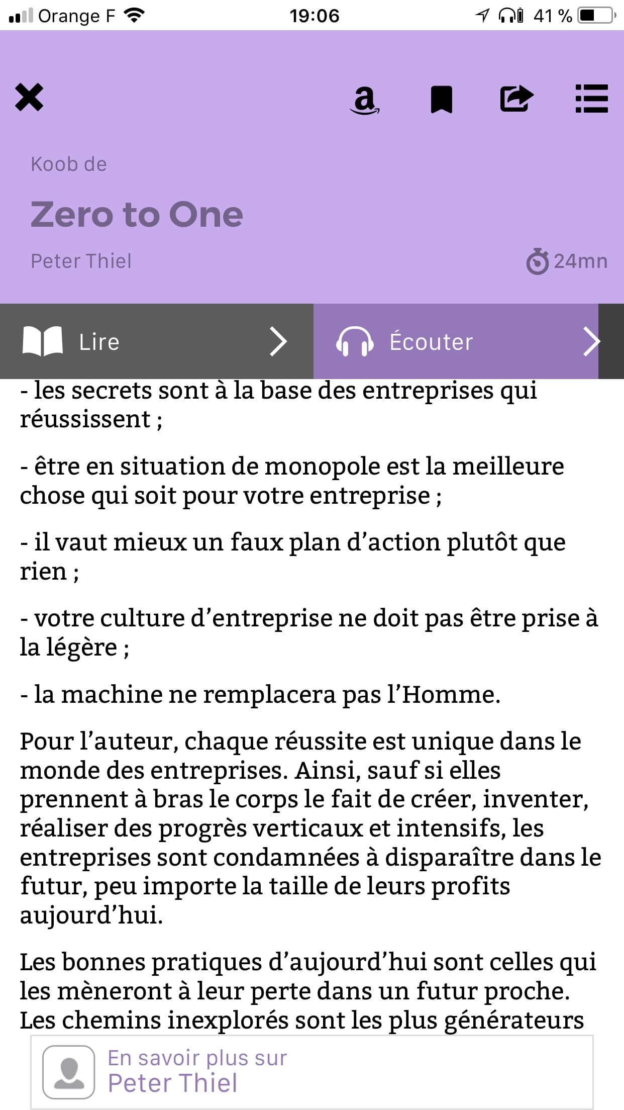 L'interface de l'application iPhone - Choix du type de lecture (texte ou audio)